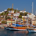 Traditional Turkish sailing craft gulet in harbor