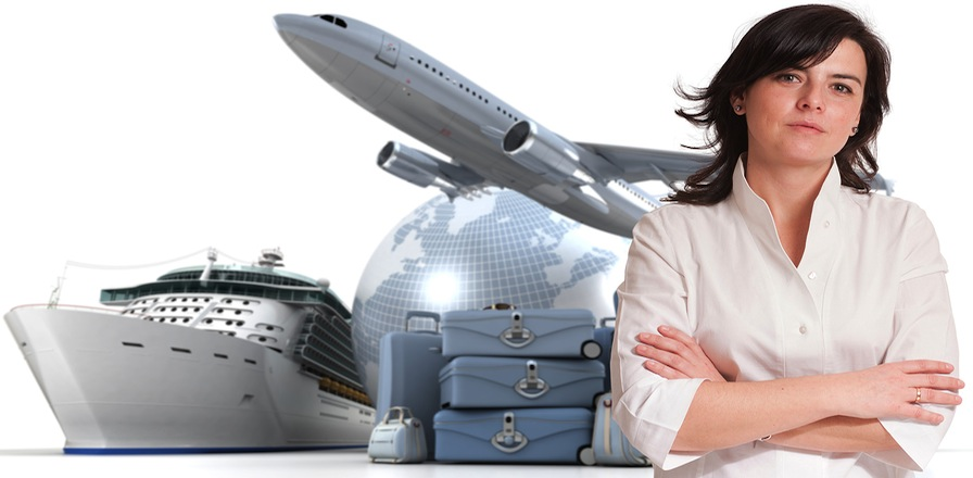 Female travel agent in front of plane, suitcase, globe