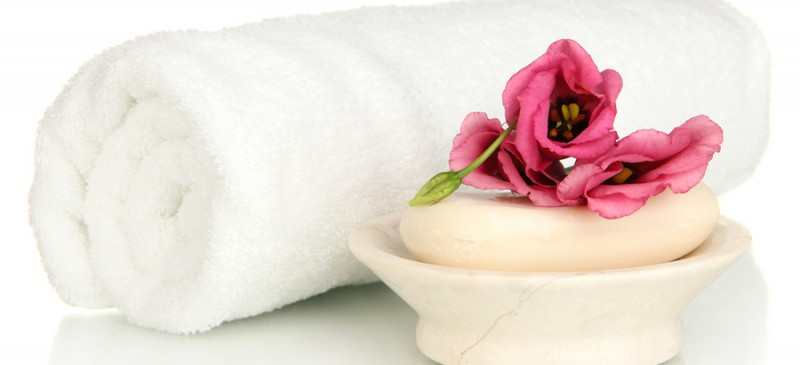 Soap and rose in dish