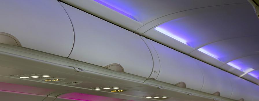 Overhead bin of modern airplane.