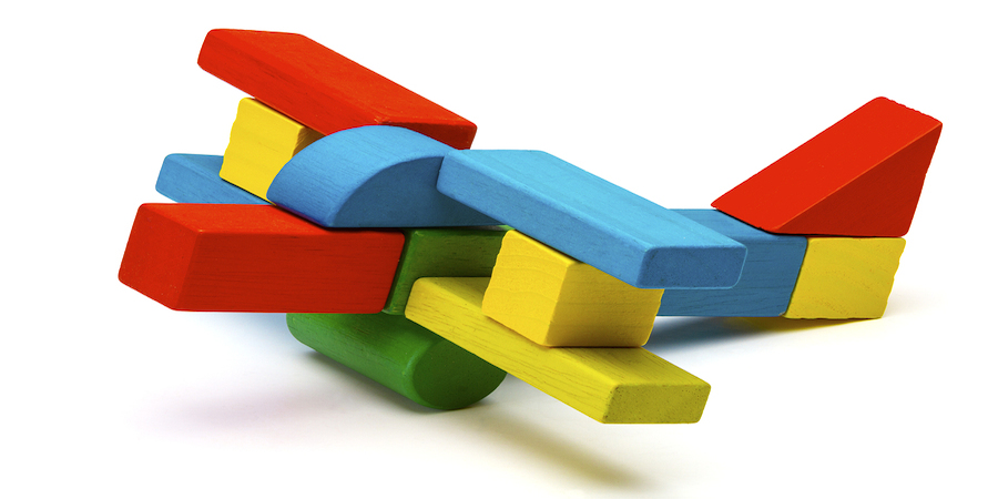 Mu;bicolored wooden toy airplane