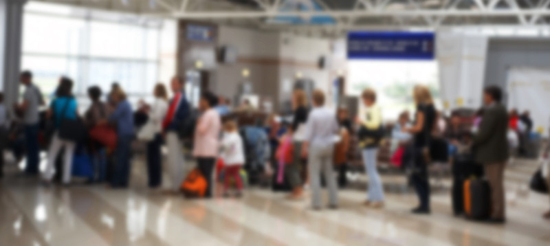 TSA security line at JFK