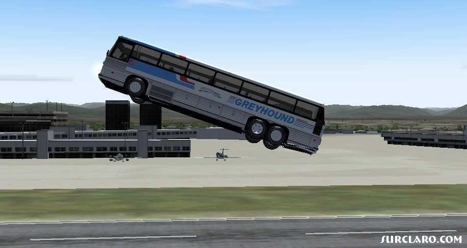 flying greyhound bus